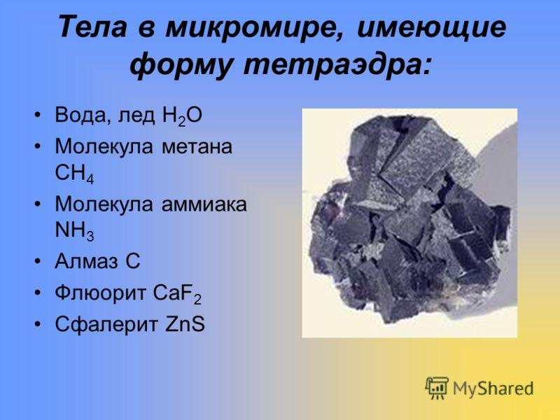 Тела в микромире, имеющие форму тетраэдра: Вода, лед Н 2 О Молекула метана СН 4 Молекула аммиака NН 3 Алмаз С Флюорит СаF 2 Сфалерит ZnS