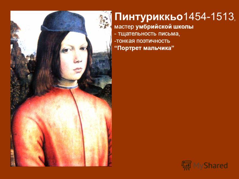 Пинтуриккьо1454-1513, мастер умбрийской школы - тщательность письма, -тонкая поэтичность Портрет мальчика