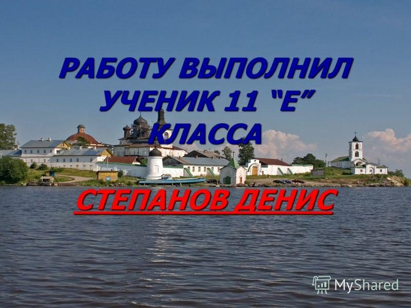 РАБОТУ ВЫПОЛНИЛ УЧЕНИК 11 Е КЛАССА СТЕПАНОВ ДЕНИС