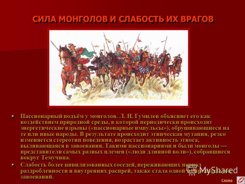 СИЛА МОНГОЛОВ И СЛАБОСТЬ ИХ ВРАГОВ Пассионарный подъём у монголов. Л. Н. Гумилев объясняет его как воздействием природной среды, в которой периодически происходят энергетические взрывы («пассионарные импульсы»), обрушивающиеся на те или иные народы.