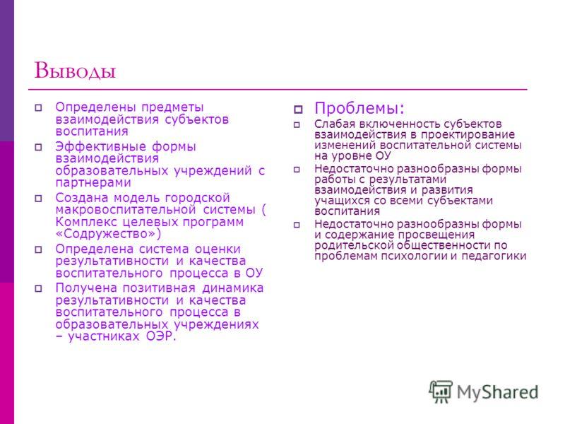 Выводы Определены предметы взаимодействия субъектов воспитания Эффективные формы взаимодействия образовательных учреждений с партнерами Создана модель городской макровоспитательной системы ( Комплекс целевых программ «Содружество») Определена система
