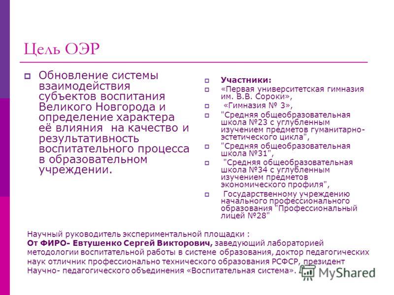 Цель ОЭР Обновление системы взаимодействия субъектов воспитания Великого Новгорода и определение характера её влияния на качество и результативность воспитательного процесса в образовательном учреждении. Участники: «Первая университетская гимназия им