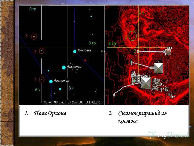 1.Пояс Ориона2.Снимок пирамид из космоса