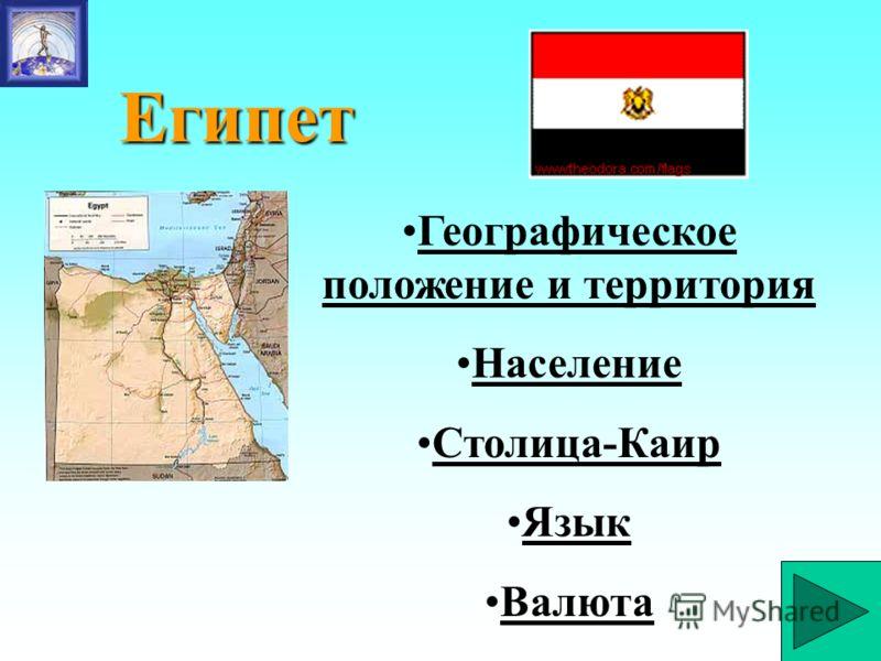 Египет Географическое положение и территорияГеографическое положение и территория Население Столица-Каир Язык Валюта