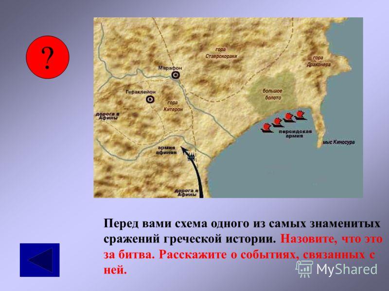 ? Перед вами схема одного из самых знаменитых сражений греческой истории. Назовите, что это за битва. Расскажите о событиях, связанных с ней.