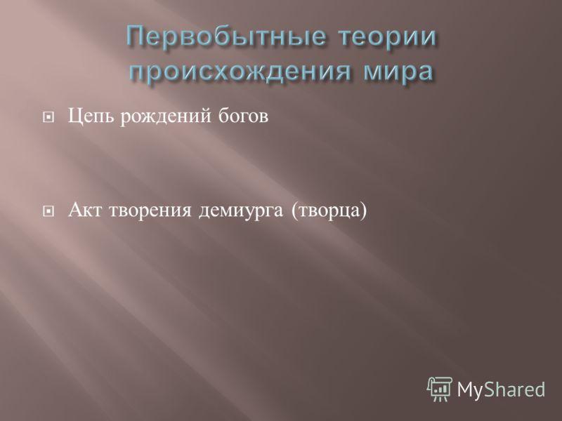 Цепь рождений богов Акт творения демиурга ( творца )