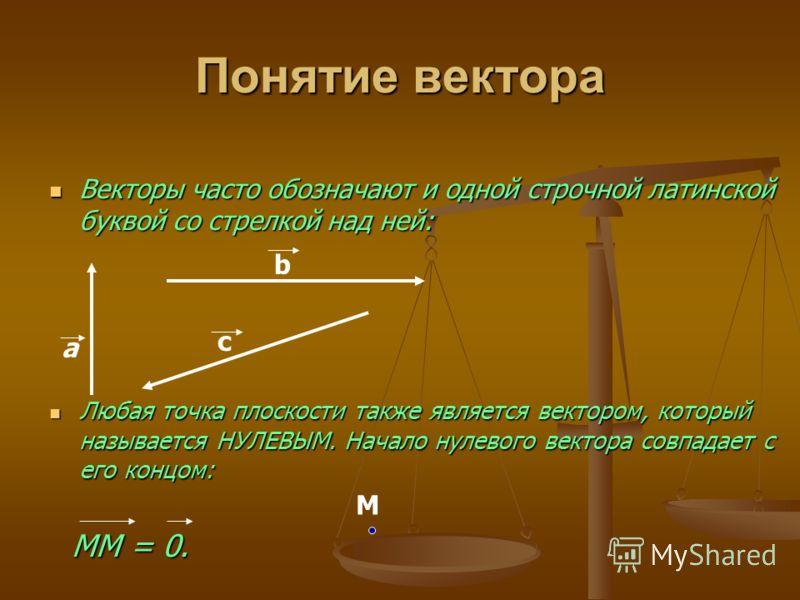 Понятие вектора Векторы часто обозначают и одной строчной латинской буквой со стрелкой над ней: Векторы часто обозначают и одной строчной латинской буквой со стрелкой над ней: Любая точка плоскости также является вектором, который называется НУЛЕВЫМ.