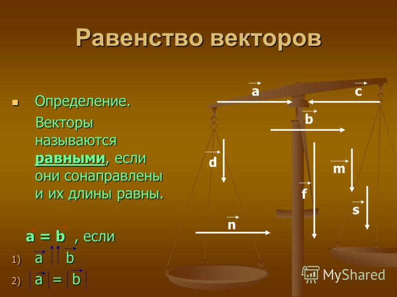 Равенство векторов Определение. Определение. Векторы называются равными, если они сонаправлены и их длины равны. Векторы называются равными, если они сонаправлены и их длины равны. а = b, если а = b, если 1) а b 2) а = b аc b d m n s f