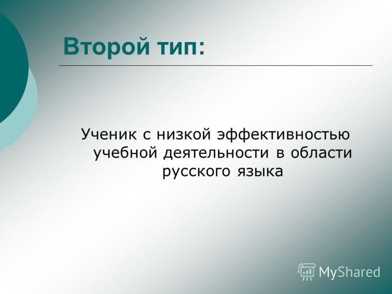 Второй тип: Ученик с низкой эффективностью учебной деятельности в области русского языка