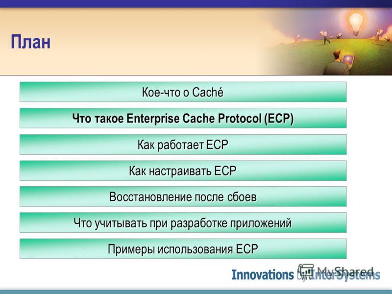 План Как работает ECP Как настраивать ECP Кое-что о Caché Что такое Enterprise Cache Protocol (ECP) Восстановление после сбоев Что учитывать при разработке приложений Примеры использования ECP