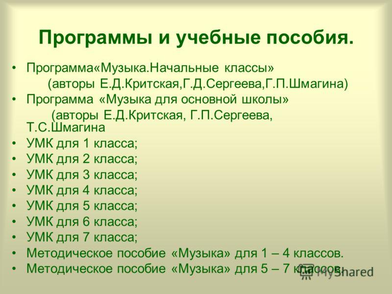 Программы и учебные пособия. Программа«Музыка.Начальные классы» (авторы Е.Д.Критская,Г.Д.Сергеева,Г.П.Шмагина) Программа «Музыка для основной школы» (авторы Е.Д.Критская, Г.П.Сергеева, Т.С.Шмагина УМК для 1 класса; УМК для 2 класса; УМК для 3 класса;