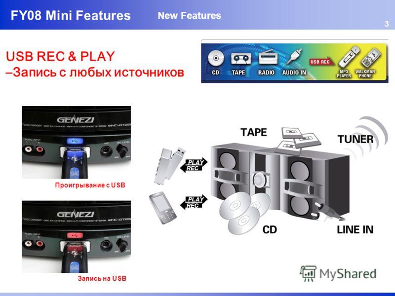 FY08 Mini Features USB REC & PLAY –Запись с любых источников 3 New Features PLAY REC PLAY REC Проигрывание с USB Запись на USB