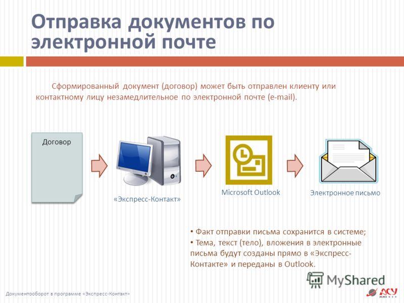 Отправка документов по электронной почте Microsoft Outlook «Экспресс-Контакт» Сформированный документ ( договор ) может быть отправлен клиенту или контактному лицу незамедлительное по электронной почте (e-mail). Документооборот в программе « Экспресс