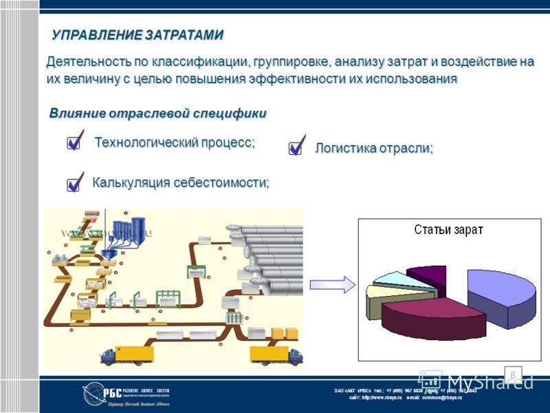 ЗАО « АКГ « РБС » тел.: +7 (495) 967 6838 факс: +7 (495) 967 6843 сайт: http://www.rbsys.ru e-mail: common@rbsys.ru 8 УПРАВЛЕНИЕ ЗАТРАТАМИ Деятельность по классификации, группировке, анализу затрат и воздействие на их величину с целью повышения эффек