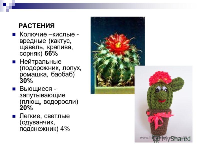 РАСТЕНИЯ Колючие –кислые - вредные (кактус, щавель, крапива, сорняк) 66% Нейтральные (подорожник, лопух, ромашка, баобаб) 30% Вьющиеся - запутывающие (плющ, водоросли) 20% Легкие, светлые (одуванчик, подснежник) 4%
