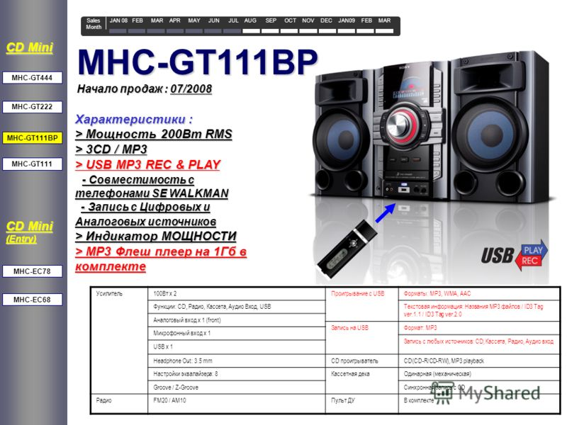Начало продаж : 07/2008 MHC-GT111BP MHC-GT222 CD Mini MHC-GT111 MHC-EC78 MHC-EC68 MHC-GT444 CD Mini (Entry) Характеристики : > Мощность 200Вт RMS > 3CD / MP3 > USB MP3 REC & PLAY - Совместимость с телефонами SE WALKMAN - Совместимость с телефонами SE