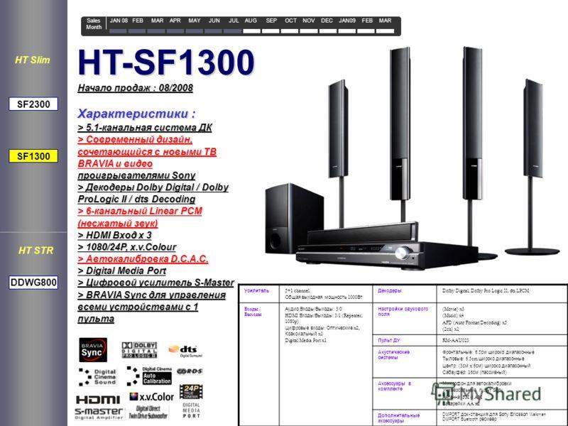HT-SF1300 Усилитель 5+1 channel Общая выходная мощность 1000 Вт Декодеры Dolby Digital, Dolby Pro Logic II, dts LPCM Входы / Выходы Аудио Входы/Выходы : 3/0 HDMI Входы/Выходы : 3/1 (Repeater, 1080p) Цифровые входы : Оптические x2, Коаксиальный x1 Dig