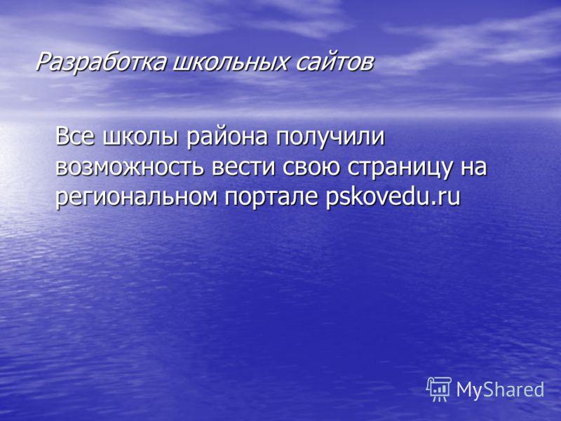 Разработка школьных сайтов Все школы района получили возможность вести свою страницу на региональном портале pskovedu.ru