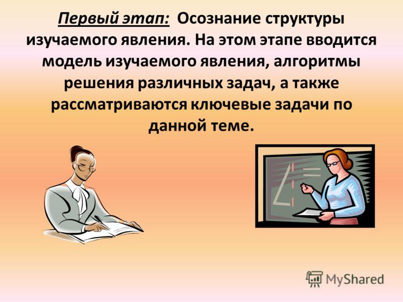Первый этап: Осознание структуры изучаемого явления. На этом этапе вводится модель изучаемого явления, алгоритмы решения различных задач, а также рассматриваются ключевые задачи по данной теме.