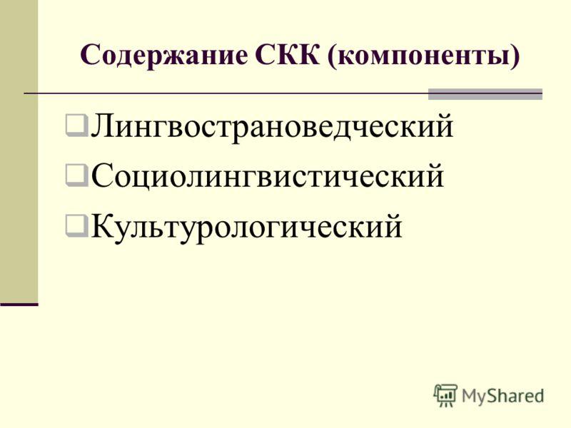 Содержание СКК (компоненты) Лингвострановедческий Социолингвистический Культурологический