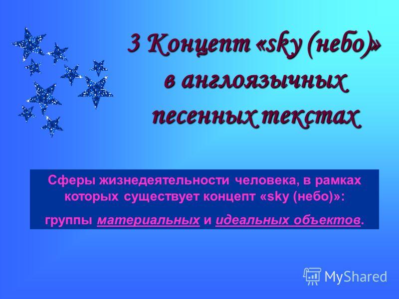 3 Концепт «sky (небо)» в англоязычных песенных текстах Сферы жизнедеятельности человека, в рамках которых существует концепт «sky (небо)»: группы материальных и идеальных объектов.