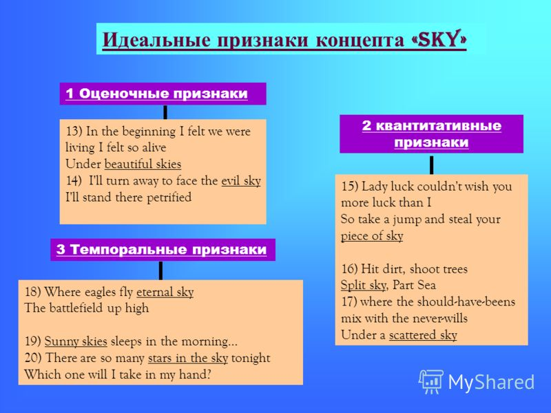 Идеальные признаки концепта «sky» 1 Оценочные признаки 13) In the beginning I felt we were living I felt so alive Under beautiful skies 14) I'll turn away to face the evil sky I'll stand there petrified 2 квантитативные признаки 15) Lady luck couldn'