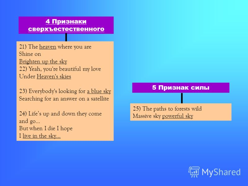 4 Признаки сверхъестественного 21) The heaven where you are Shine on Brighten up the sky 22) Yeah, you're beautiful my love Under Heaven's skies 23) Everybody's looking for a blue sky Searching for an answer on a satellite 24) Lifes up and down they