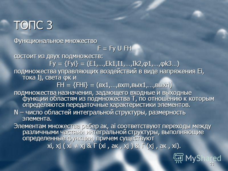11 ТОПС 3 Функциональное множество F = Fy U FH состоит из двух подмножеств: Fy = {Fyi} = (E1,…,Ek1,I1,…,Ik2,φ1,…,φk3…) подмножества управляющих воздействий в виде напряжения Еi, тока Ij, света φк и FH = {FHi} = (вх1,…,вхm,вых1,…,выхn) подмножества на