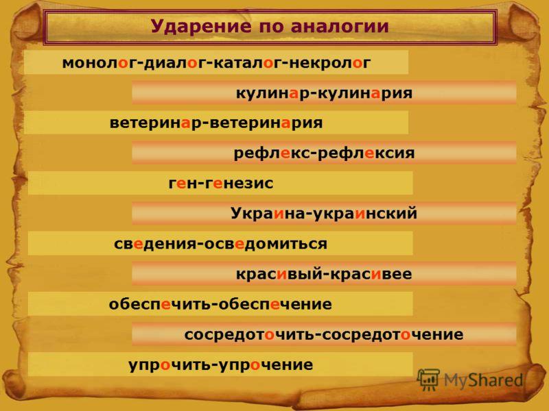 Ударение по аналогии монолог-диалог-каталог-некролог кулинар-кулинария ветеринар-ветеринария рефлекс-рефлексия сосредоточить-сосредоточение обеспечить-обеспечение упрочить-упрочение ген-генезис Украина-украинский красивый-красивее сведения-осведомить