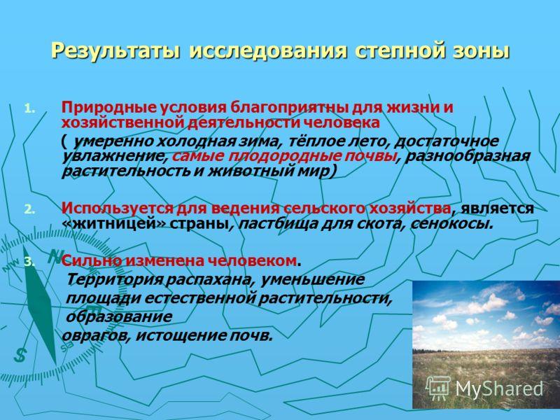Результаты исследования лесостепной зоны 1. 1. Природные условия благоприятны для жизни и хозяйственной деятельности человека ( умеренно холодная зима, тёплое лето, достаточное увлажнение, плодородные почвы, разнообразная растительность и животный ми