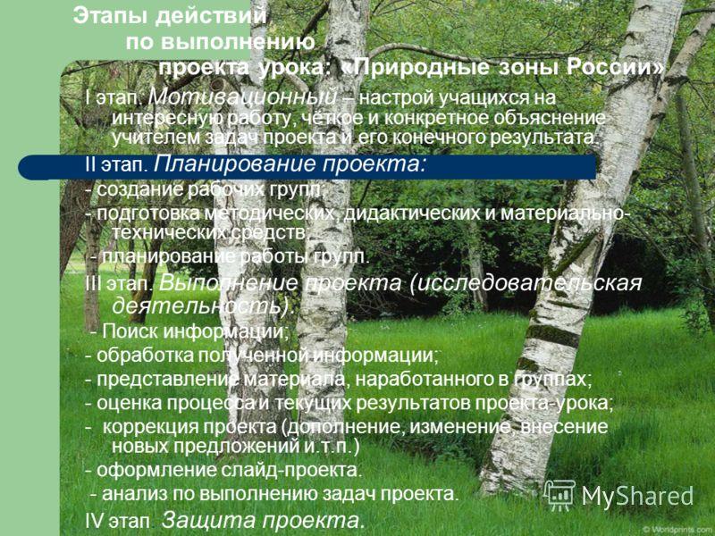 Этапы действий по выполнению проекта урока: «Природные зоны России» I этап. Мотивационный – настрой учащихся на интересную работу, чёткое и конкретное объяснение учителем задач проекта и его конечного результата. II этап. Планирование проекта: - созд