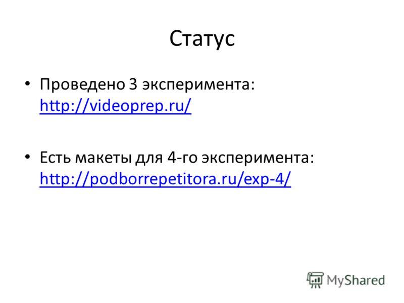 Статус Проведено 3 эксперимента: http://videoprep.ru/ http://videoprep.ru/ Есть макеты для 4-го эксперимента: http://podborrepetitora.ru/exp-4/ http://podborrepetitora.ru/exp-4/