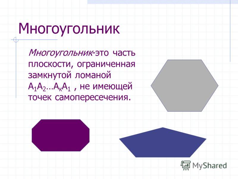 Многоугольник Многоугольник-это часть плоскости, ограниченная замкнутой ломаной А 1 А 2 …А к А 1, не имеющей точек самопересечения.