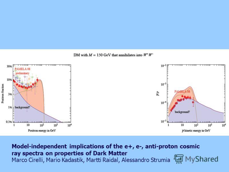 Model-independent implications of the e+, e-, anti-proton cosmic ray spectra on properties of Dark Matter Marco Cirelli, Mario Kadastik, Martti Raidal, Alessandro Strumia