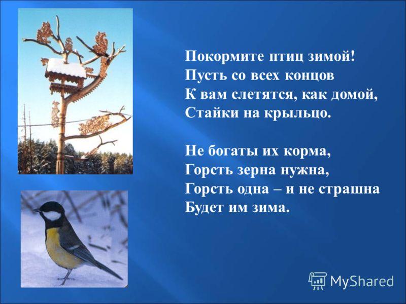 Покормите птиц зимой! Пусть со всех концов К вам слетятся, как домой, Стайки на крыльцо. Не богаты их корма, Горсть зерна нужна, Горсть одна – и не страшна Будет им зима.