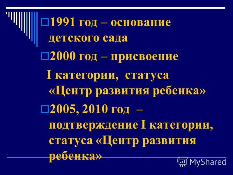 1991 год – основание детского сада 2000 год – присвомение I категории, статуса «Цментр развитыя ребменка» 2005, 2010 год – подтверждмение I категории, статуса «Цментр развитыя ребменка»