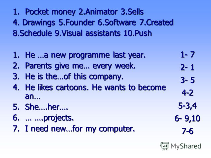 1- 7 2- 1 3- 5 4-2 5-3,4 6- 9,10 7-6 1.Pocket money 2.Animator 3.Sells 4. Drawings 5.Founder 6.Software 7.Created 8.Schedule 9.Visual assistants 10.Push 1.He …a new programme last year. 2.Parents give me… every week. 3.He is the…of this company. 4.He