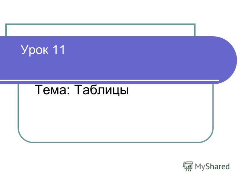 Урок 11 Тема: Таблицы