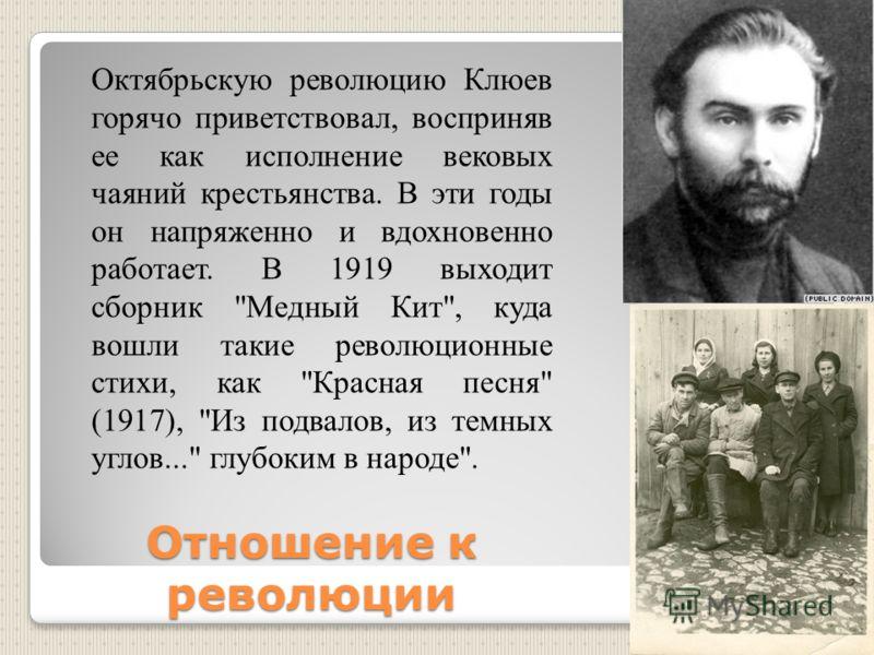 Отношение к революции Октябрьскую революцию Клюев горячо приветствовал, восприняв ее как исполнение вековых чаяний крестьянства. В эти годы он напряженно и вдохновенно работает. В 1919 выходит сборник