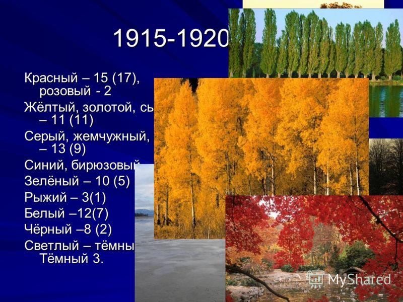 1915-1920 годы Красный – 15 (17), розовый - 2 Жёлтый, золотой, сырный – 11 (11) Серый, жемчужный, седой – 13 (9) Синий, бирюзовый – 17(8) Зелёный – 10 (5) Рыжий – 3(1) Белый –12(7) Чёрный –8 (2) Светлый – тёмный – (9). Тёмный 3.