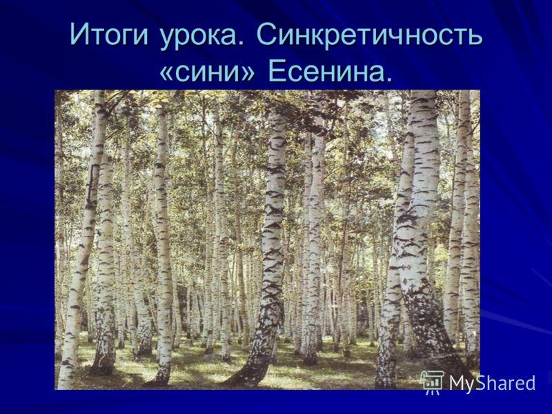 Итоги урока. Синкретичность «сини» Есенина.