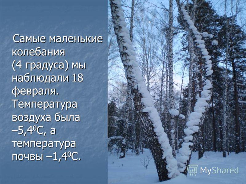 Самые маленькие колебания (4 градуса) мы наблюдали 18 февраля. Температура воздуха была –5,4 0 С, а температура почвы –1,4 0 С. Самые маленькие колебания (4 градуса) мы наблюдали 18 февраля. Температура воздуха была –5,4 0 С, а температура почвы –1,4