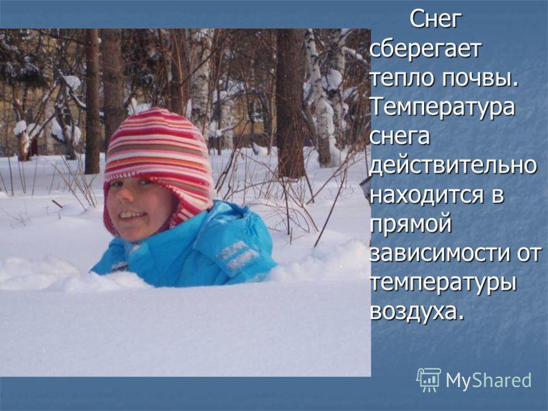 Снег сберегает тепло почвы. Температура снега действительно находится в прямой зависимости от температуры воздуха. Снег сберегает тепло почвы. Температура снега действительно находится в прямой зависимости от температуры воздуха.