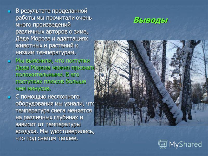 Выводы В результате проделанной работы мы прочитали очень много произведений различных авторов о зиме, Деде Морозе и адаптациях животных и растений к низким температурам. В результате проделанной работы мы прочитали очень много произведений различных