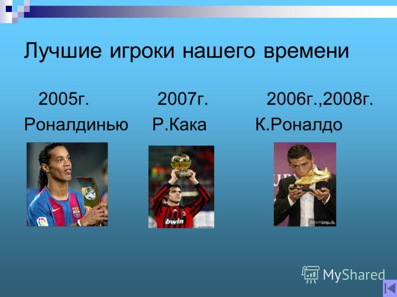 Лучшие игроки нашего времени 2005г. 2007г. 2006г.,2008г. Роналдинью Р.Кака К.Роналдо