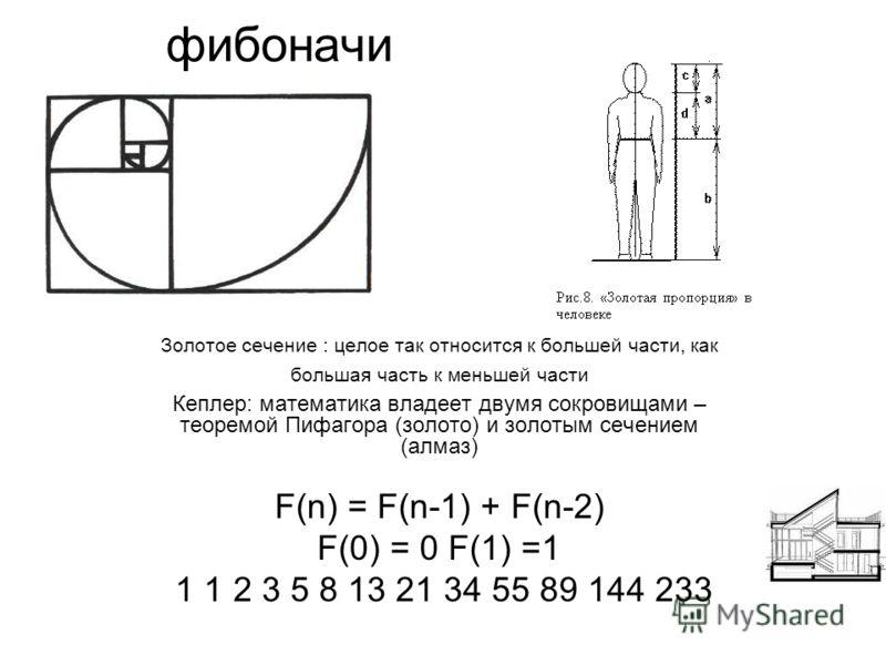 фибоначи Золотое сечение : целое так относится к большей части, как большая часть к меньшей части Кеплер: математика владеет двумя сокровищами – теоремой Пифагора (золото) и золотым сечением (алмаз) F(n) = F(n-1) + F(n-2) F(0) = 0 F(1) =1 1 1 2 3 5 8