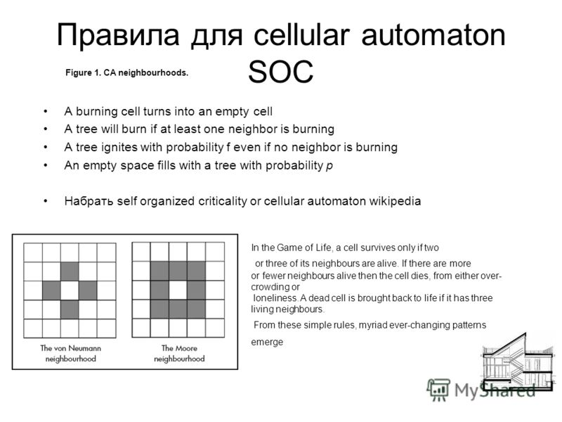 Правила для cellular automaton SOC A burning cell turns into an empty cell A tree will burn if at least one neighbor is burning A tree ignites with probability f even if no neighbor is burning An empty space fills with a tree with probability p Набра