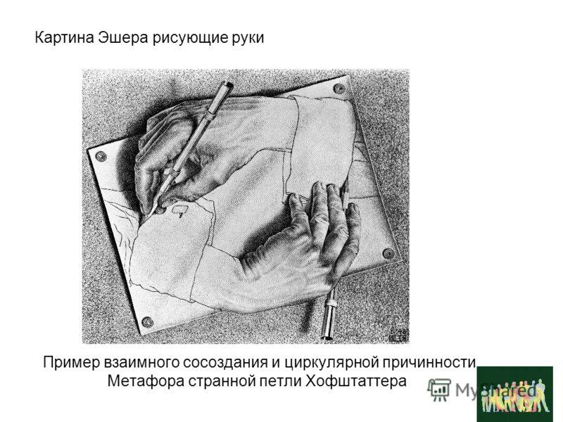 Пример взаимного сосоздания и циркулярной причинности. Метафора странной петли Хофштаттера Картина Эшера рисующие руки