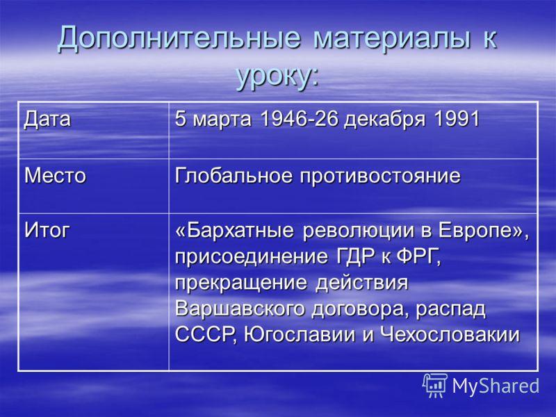 Дополнительные материалы к уроку: Дата 5 марта 1946-26 декабря 1991 Место Глобальное противостояние Итог «Бархатные революции в Европе», присоединение ГДР к ФРГ, прекращение действия Варшавского договора, распад СССР, Югославии и Чехословакии