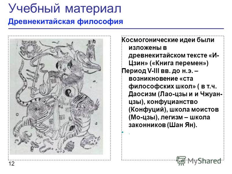 Рисунок Космогонические идеи были изложены в древнекитайском тексте «И- Цзин» («Книга перемен») Период V-III вв. до н.э. – возникновение «ста философских школ» ( в т.ч. Даосизм (Лао-цзы и и Чжуан- цзы), конфуцианство (Конфуций), школа моистов (Мо-цзы